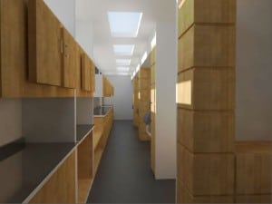 A rendering of the mobile clinic's hallway