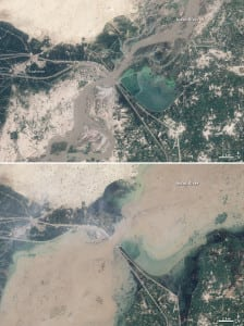 The image on the bottom shows flooding near Kashmor, Pakistan in August, 2010, while the top image shows the same region a year earlier for comparison. Images by NASA Goddard Space Flight Center / Flickr