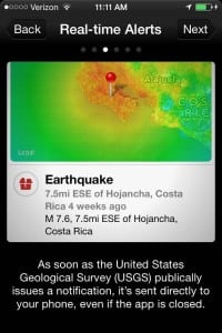 The Red Cross uses Twitter to share information about its disaster information apps, which in turn draw on data from government agencies. This screen shot shows the organization's earthquake information app informed by the United States Geological Survey.