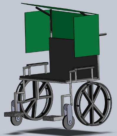 This rendering depicts the chair design that Kaleen Canevari and the E4C community considered for a boy with cerebral palsy