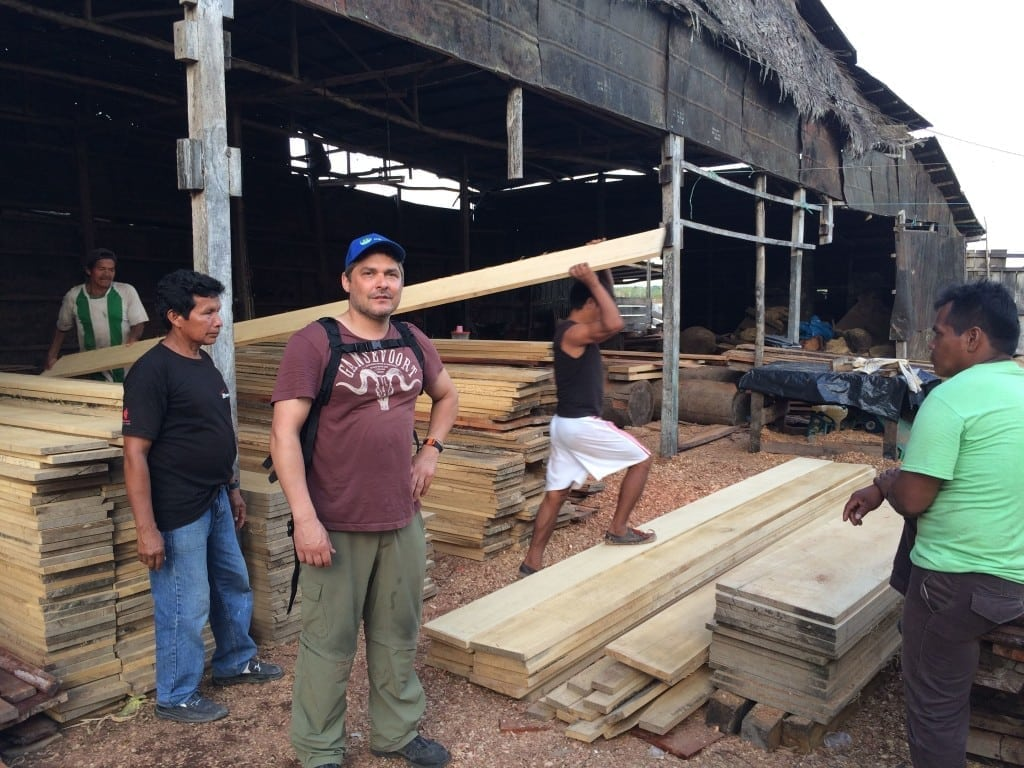 Buying wood to build Crappers in Nauta, Peru