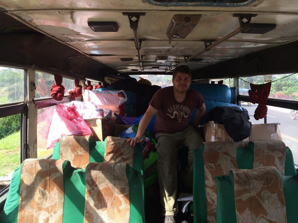Inside TfP's Magic bus to transport materials from Iquitos to Nauta Peru