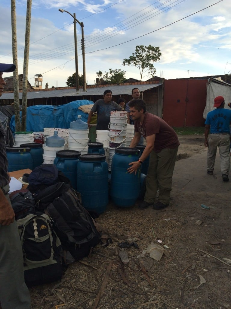 staging materials in Nauta to put on the boat to go down river
