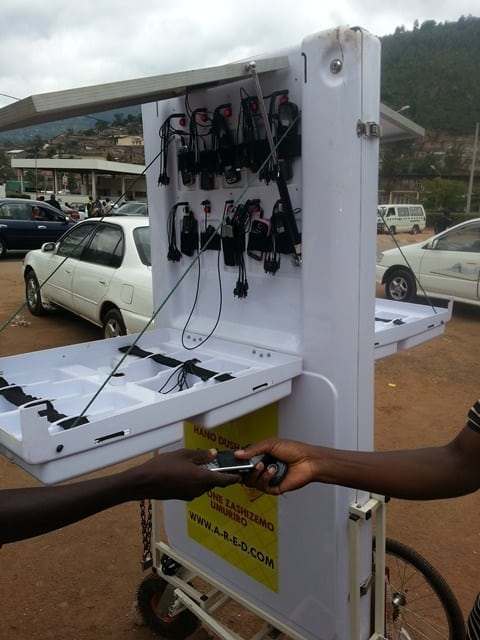 A mobile kiosk charging phones