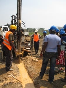 Drilling a borehole for a water well