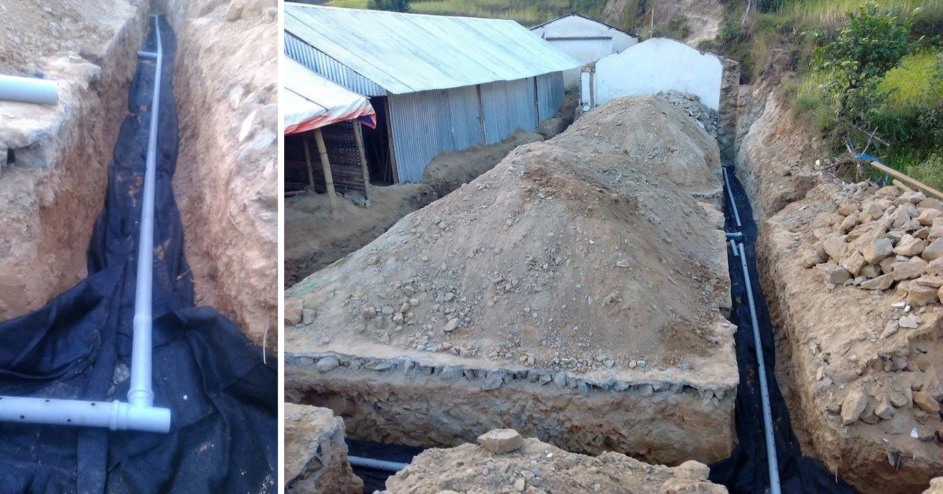 How To Build For Earthquake Resistance Earthbag Construction Manual French Drain Design Diagram 7 Fill Gravel Bags