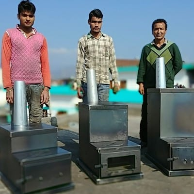 The 3 sizes of Himalayan Rocket Stove (Eco1, Eco2 and Eco3)
